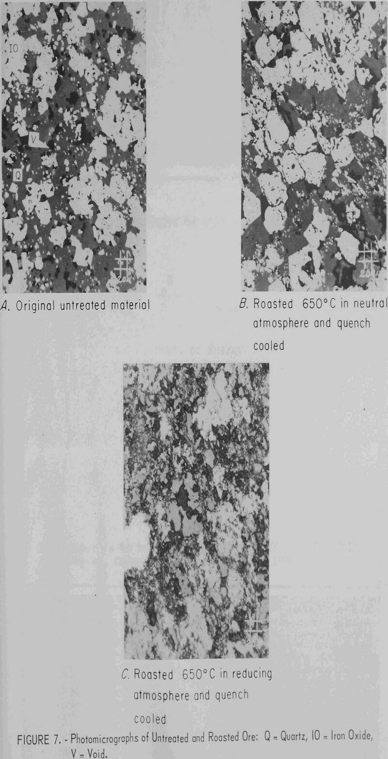 grindability photomicrograph of untreated and roasted ore