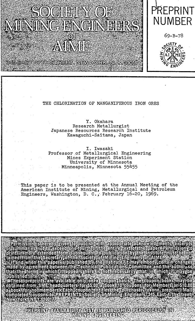 the chlorination of manganiferous iron ores