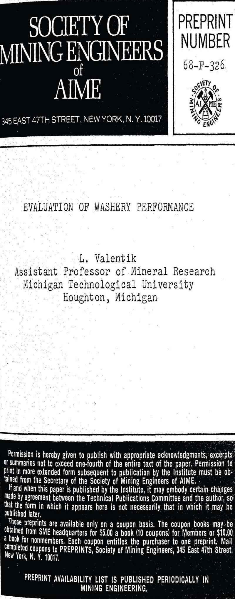 evaluation of washery performance