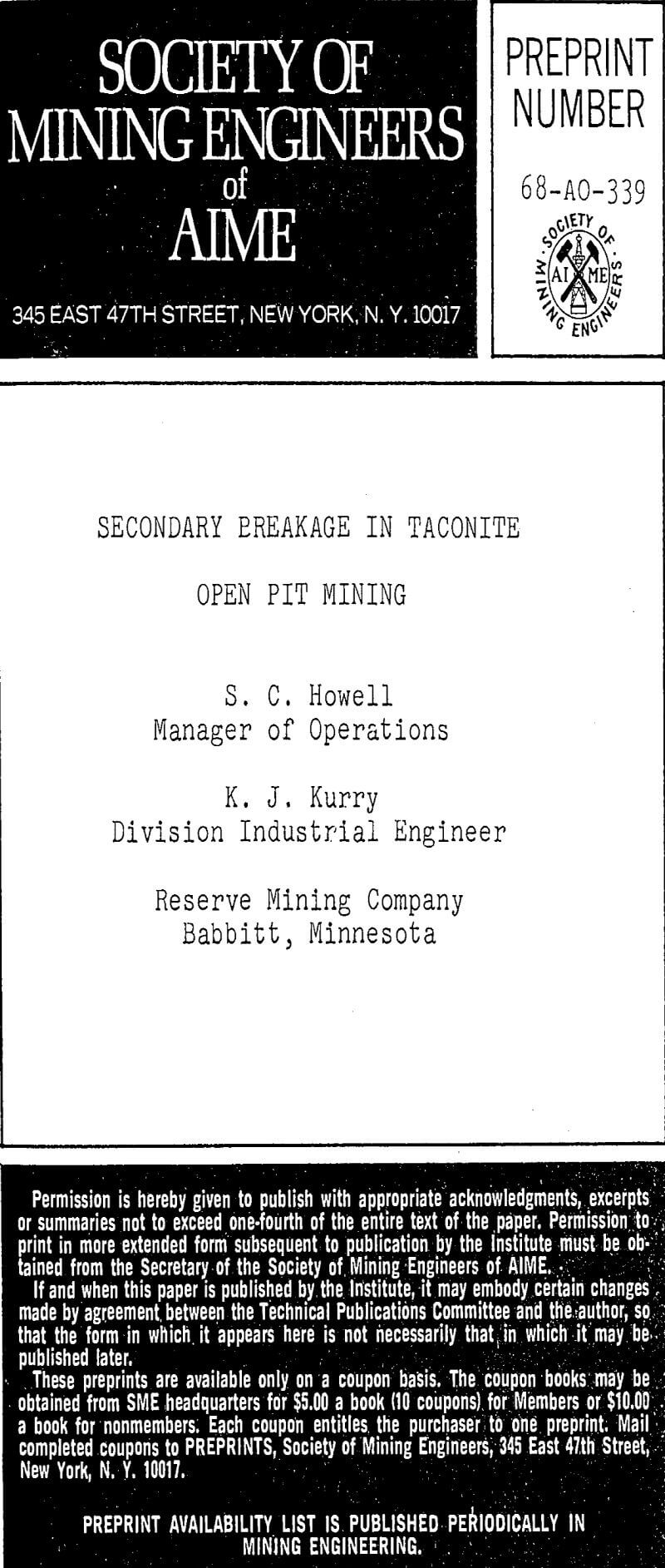 secondary breakage in taconite open pit mining