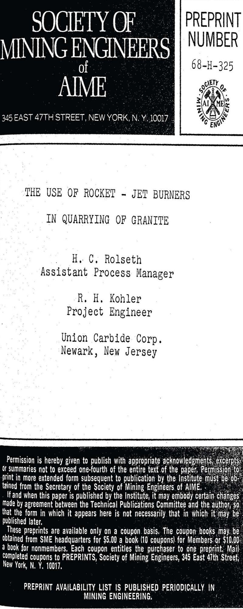 the use of rocket jet burners in quarrying of granite