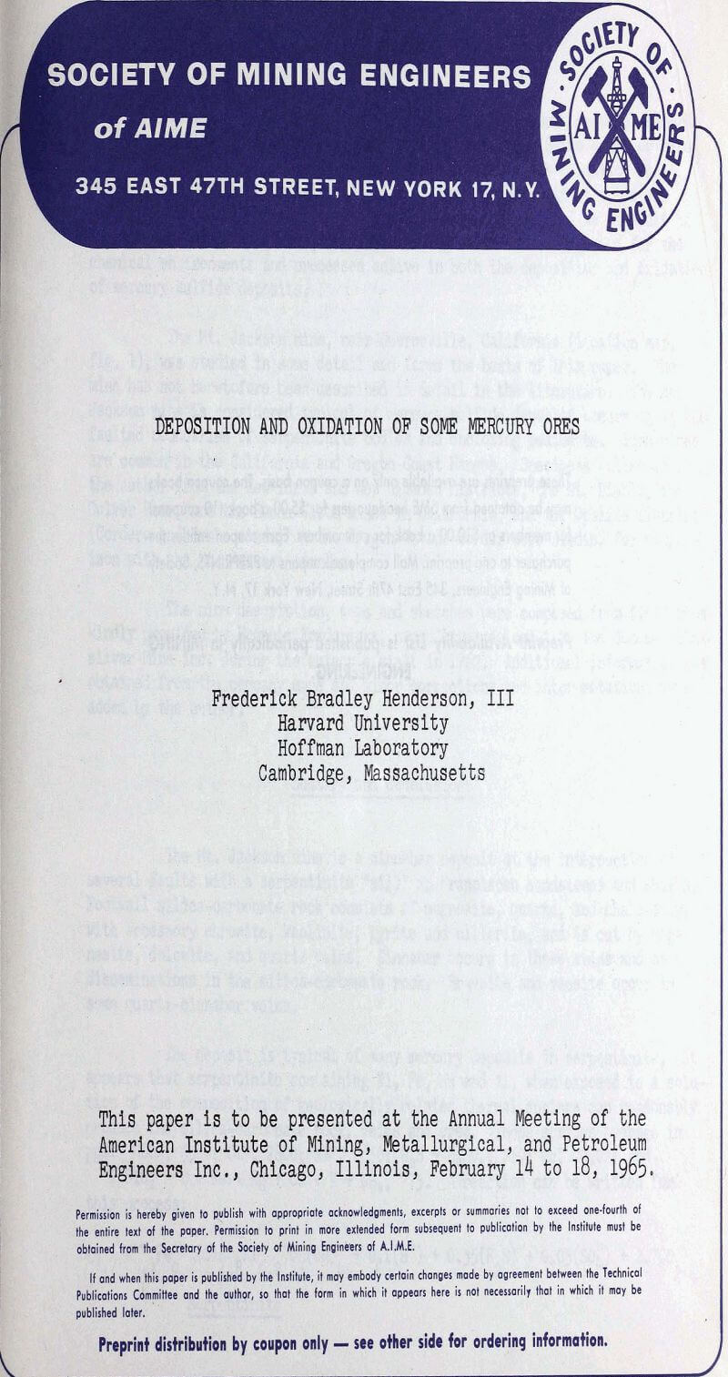 deposition and oxidation of some mercury ores