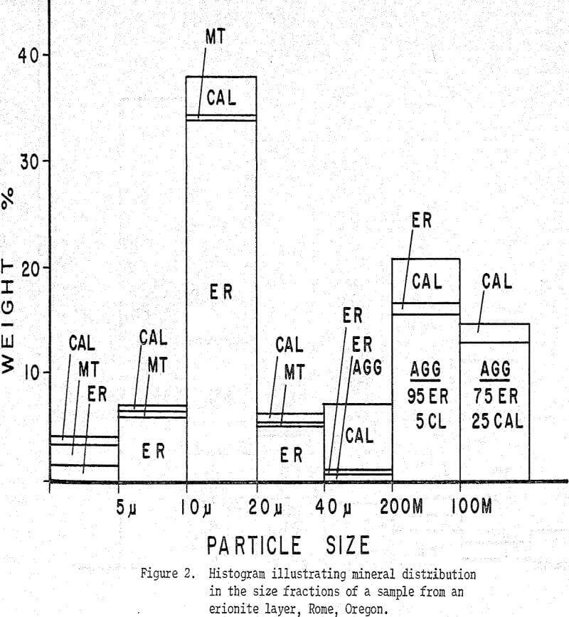 tertiary zeolite ores histogram illustrating