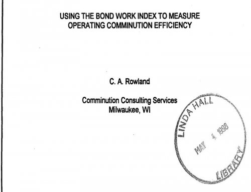 How to use Bond Work Index to Measure Operating Comminution Efficiency
