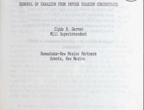 Remove Vanadium from Impure Uranium Concentrate