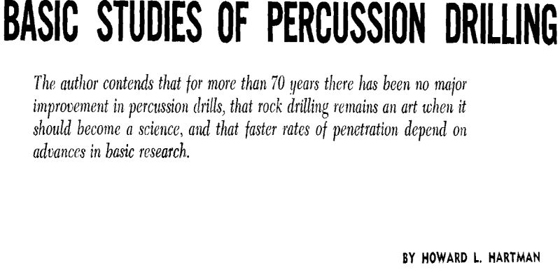 basic studies of percussion drilling