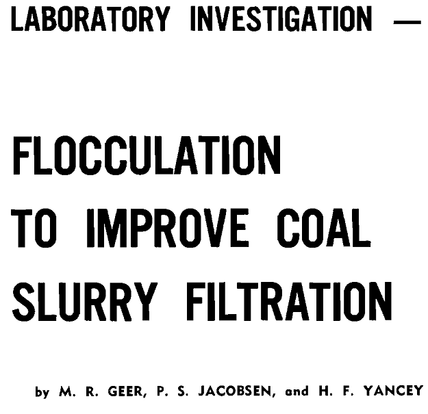 flocculation to improve coal slurry filtration