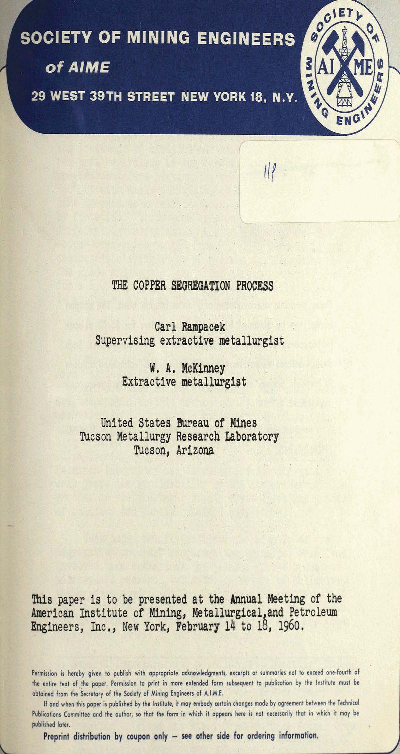 the copper segregation process