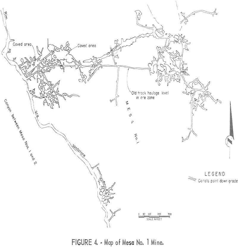 uranium mining map of mesa no. 1 mine