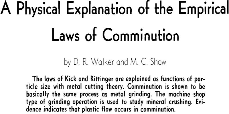 a physical explanation of the empirical laws of comminution