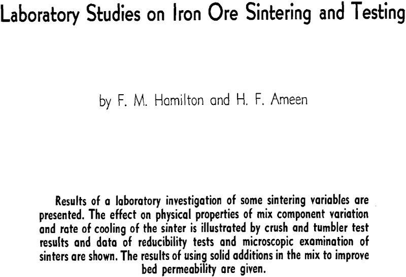 laboratory studies on iron ore sintering and testing