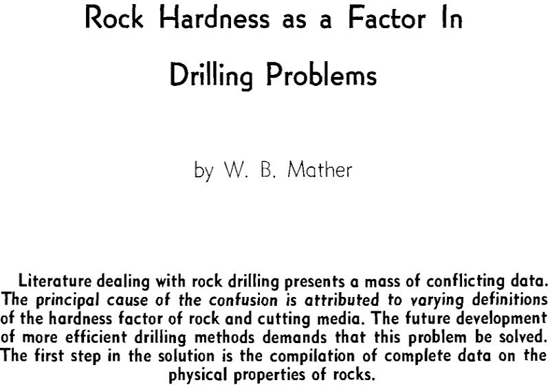 rock hardness as a factor in drilling problems