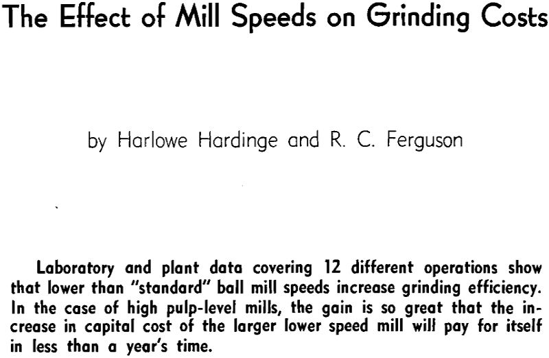 the effect of mill speeds on grinding costs
