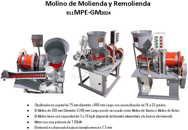 Molino de Molienda y Remolienda de 3 to 10 Kilos Hr Clasificador