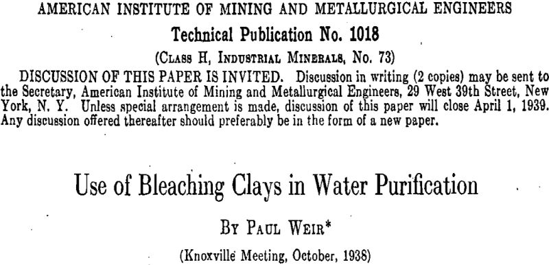 Use of Bleaching Clays in Water Purification
